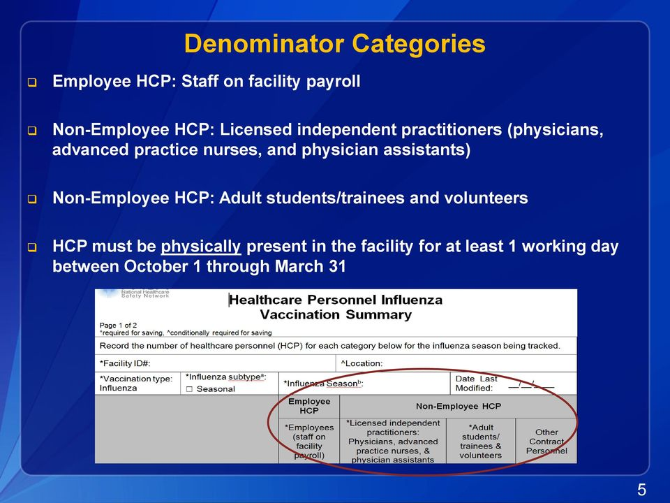 physician assistants) Non-Employee HCP: Adult students/trainees and volunteers HCP