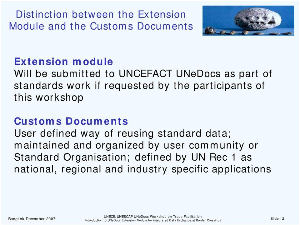 Documents User defined way of reusing standard data; maintained and organized by user community or