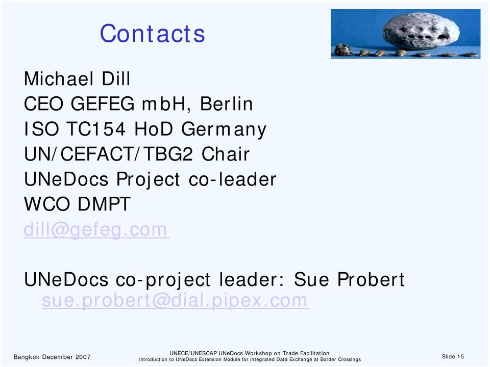 Project co-leader WCO DMPT dill@gefeg.