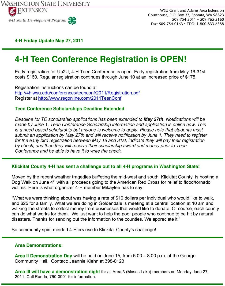 Early registration for Up2U, 4-H Teen Conference is open. Early registration from May 16-31st costs $160. Regular registration continues through June 10 at an increased price of $175.