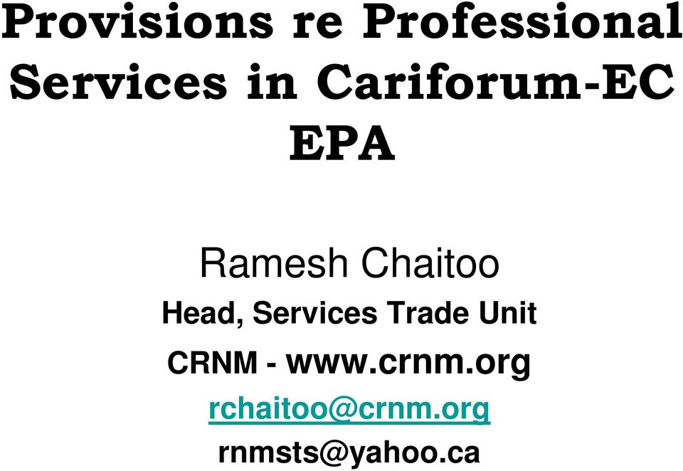 Head, Services Trade Unit CRNM - www.