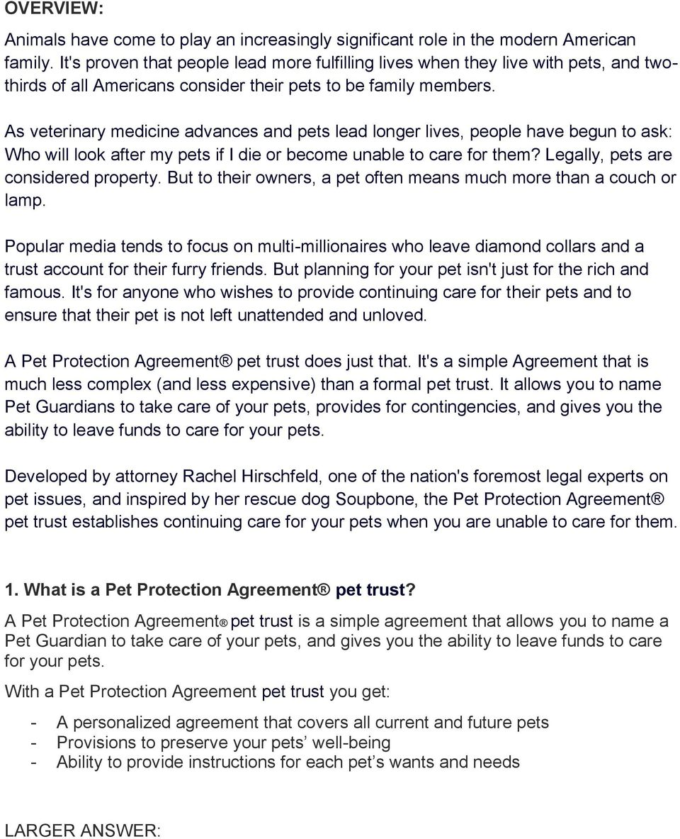 Overview 1 What Is A Pet Protection Agreement Pet Trust Pdf