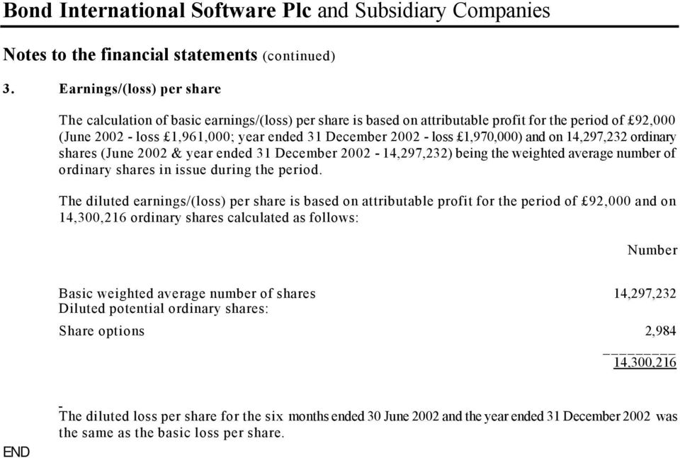 14,297,232 ordinary shares (June 2002 & year ended 2002 14,297,232) being the weighted average number of ordinary shares in issue during the period.