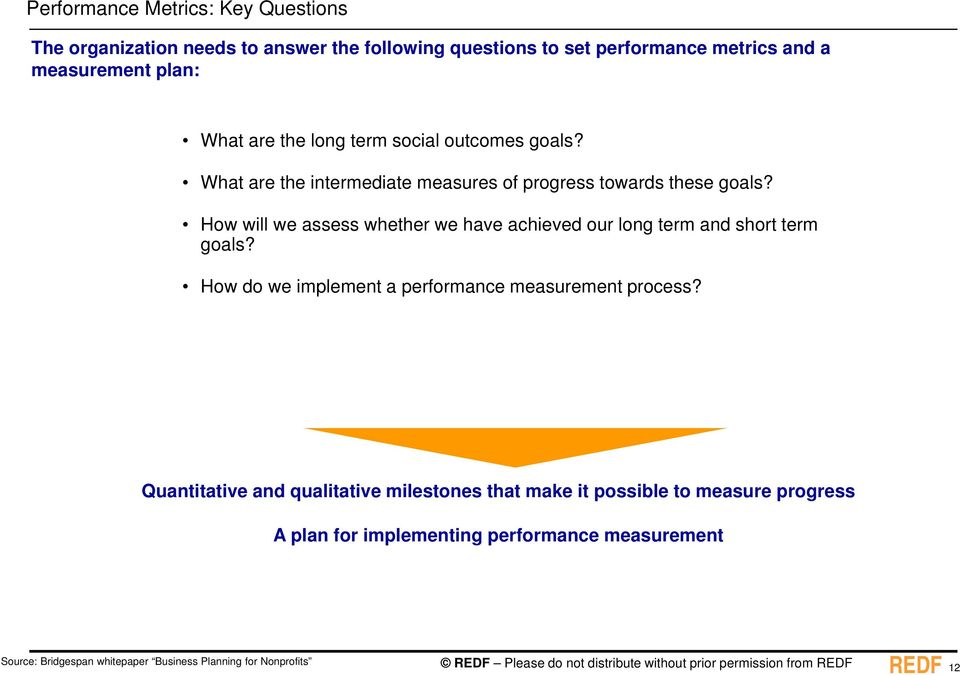 How will we assess whether we have achieved our long term and short term goals? How do we implement a performance measurement process?