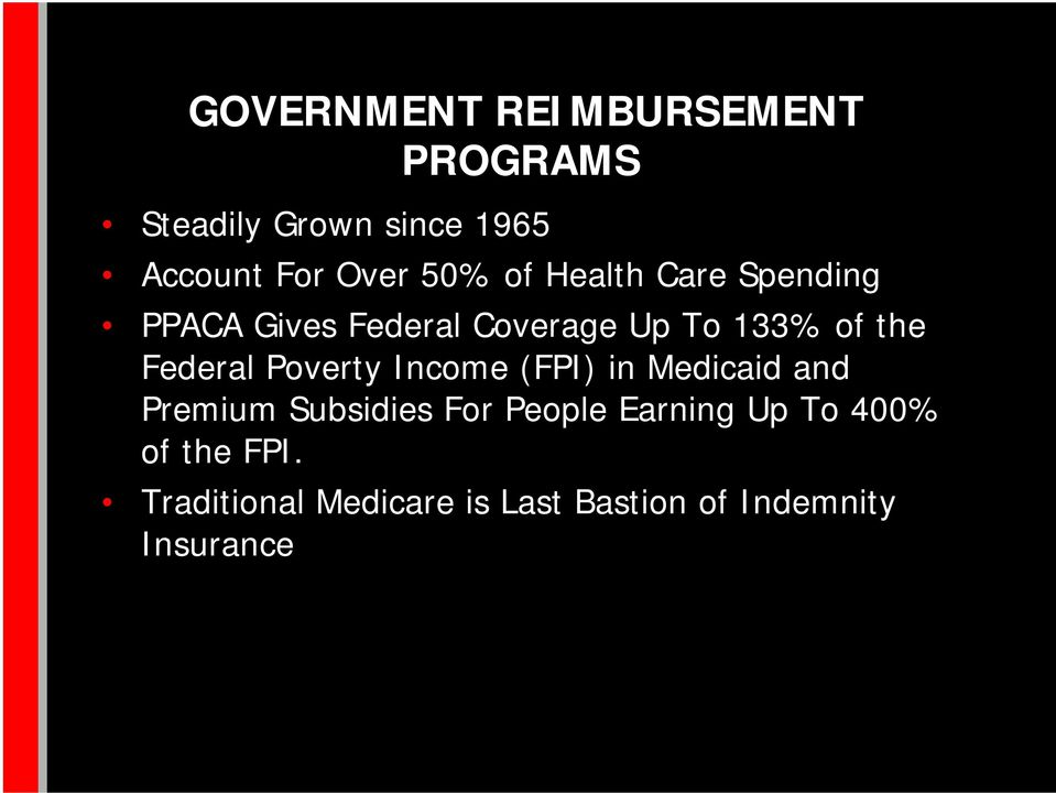 Federal Poverty Income (FPI) in Medicaid and Premium Subsidies For People