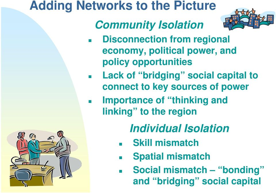key sources of power Importance of thinking and linking to the region Individual