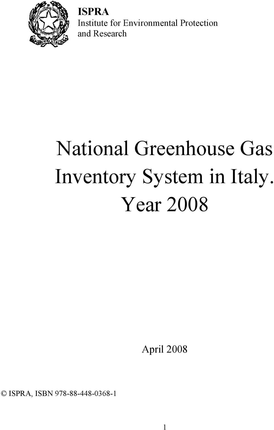 Greenhouse Gas Inventory System in Italy.