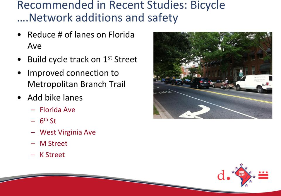 Build cycle track on 1 st Street Improved connection to