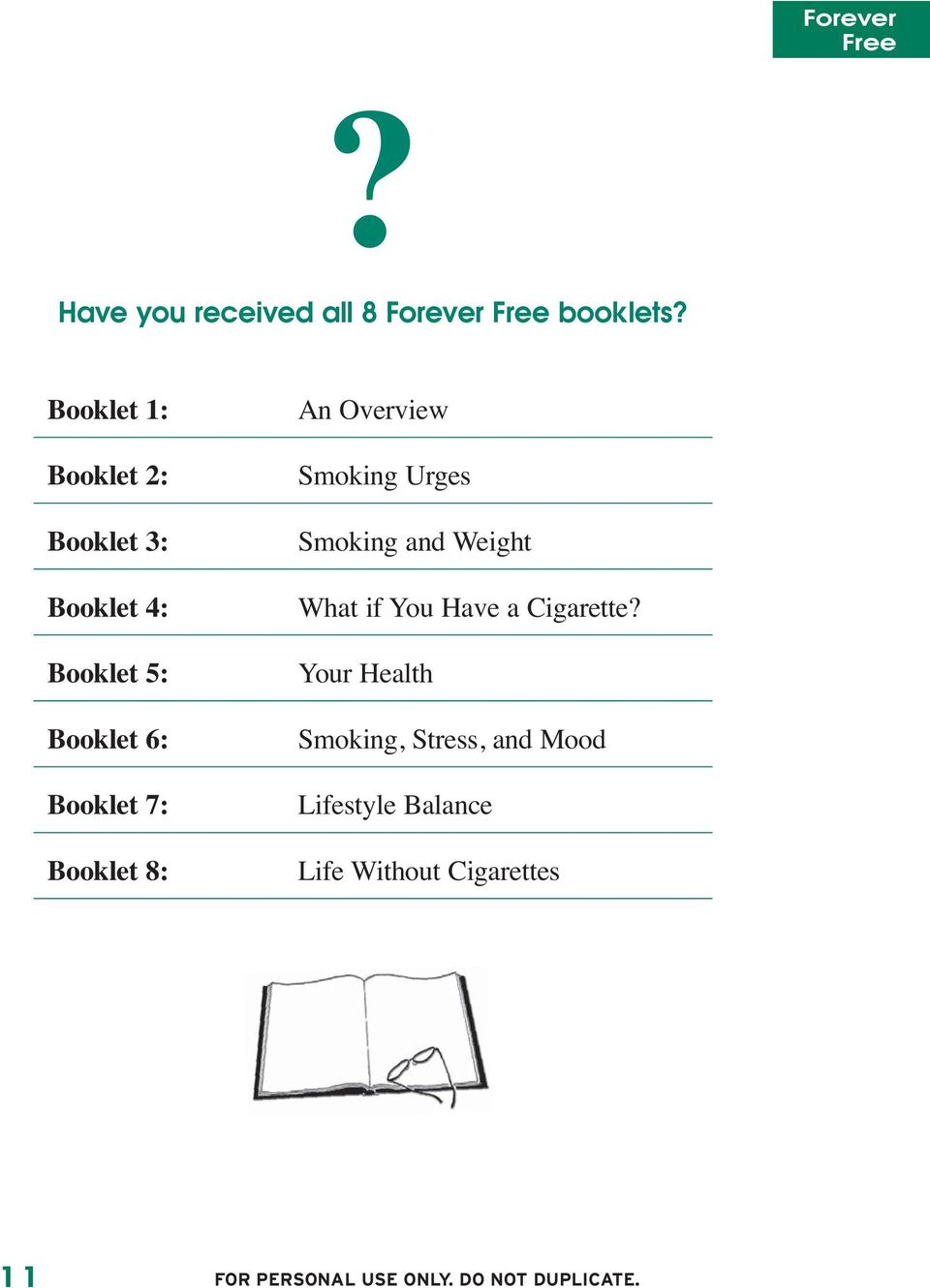 Booklet 7: Booklet 8: An Overview Smoking Urges Smoking and Weight What