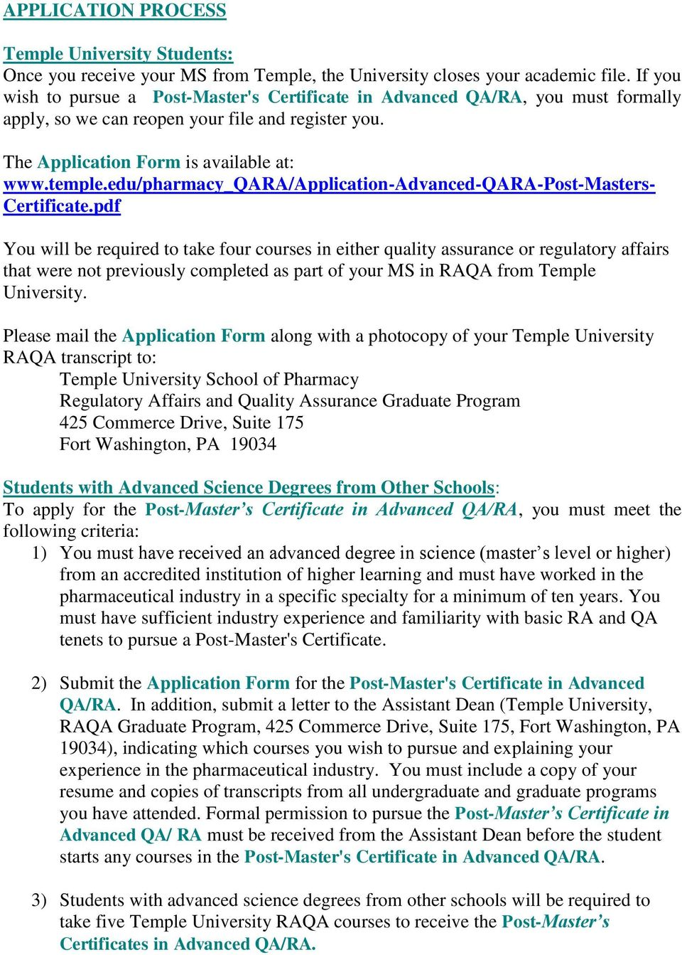 edu/pharmacy_qara/application-advanced-qara-post-masters- Certificate.