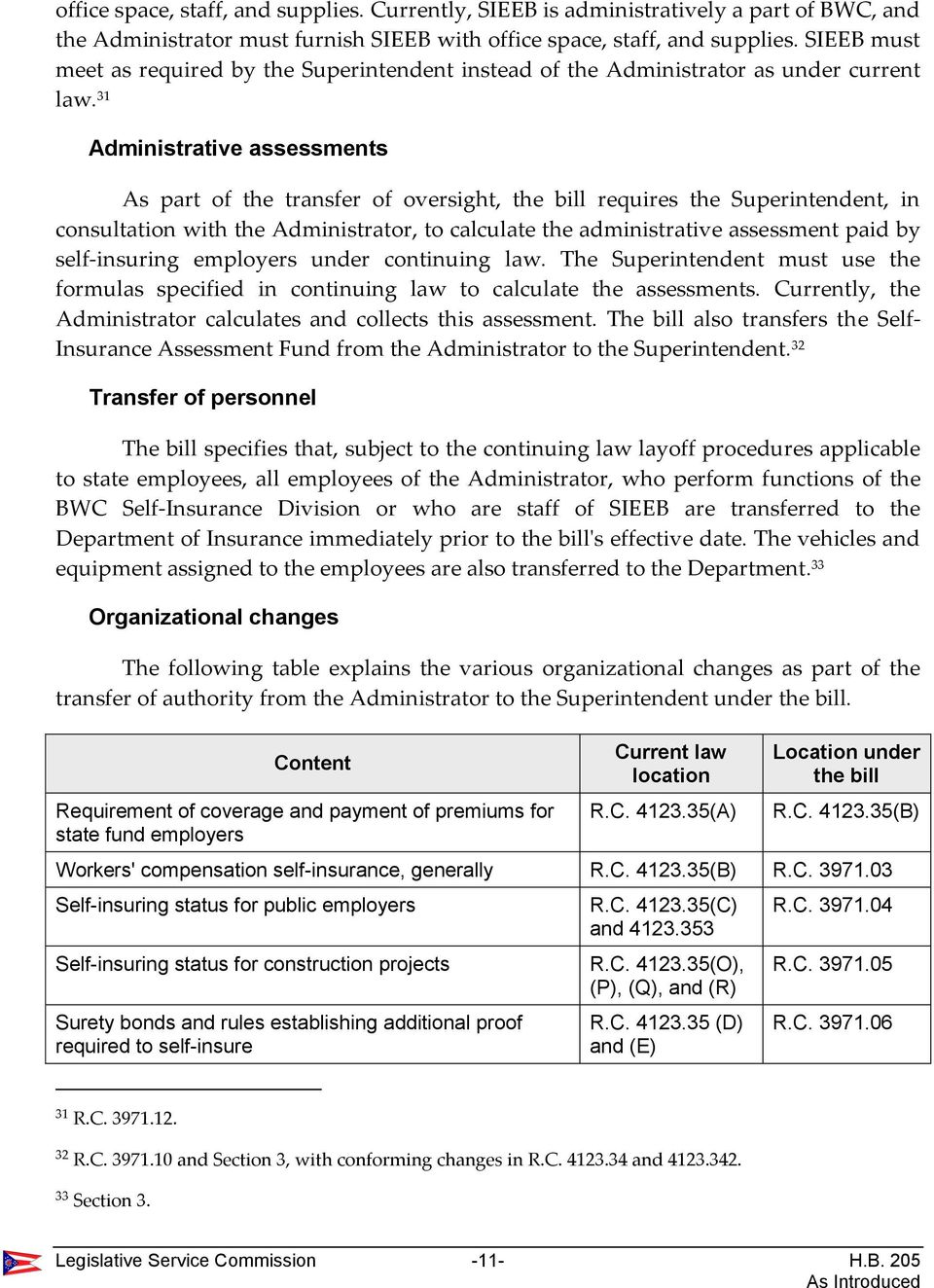 31 Administrative assessments As part of the transfer of oversight, the bill requires the Superintendent, in consultation with the Administrator, to calculate the administrative assessment paid by