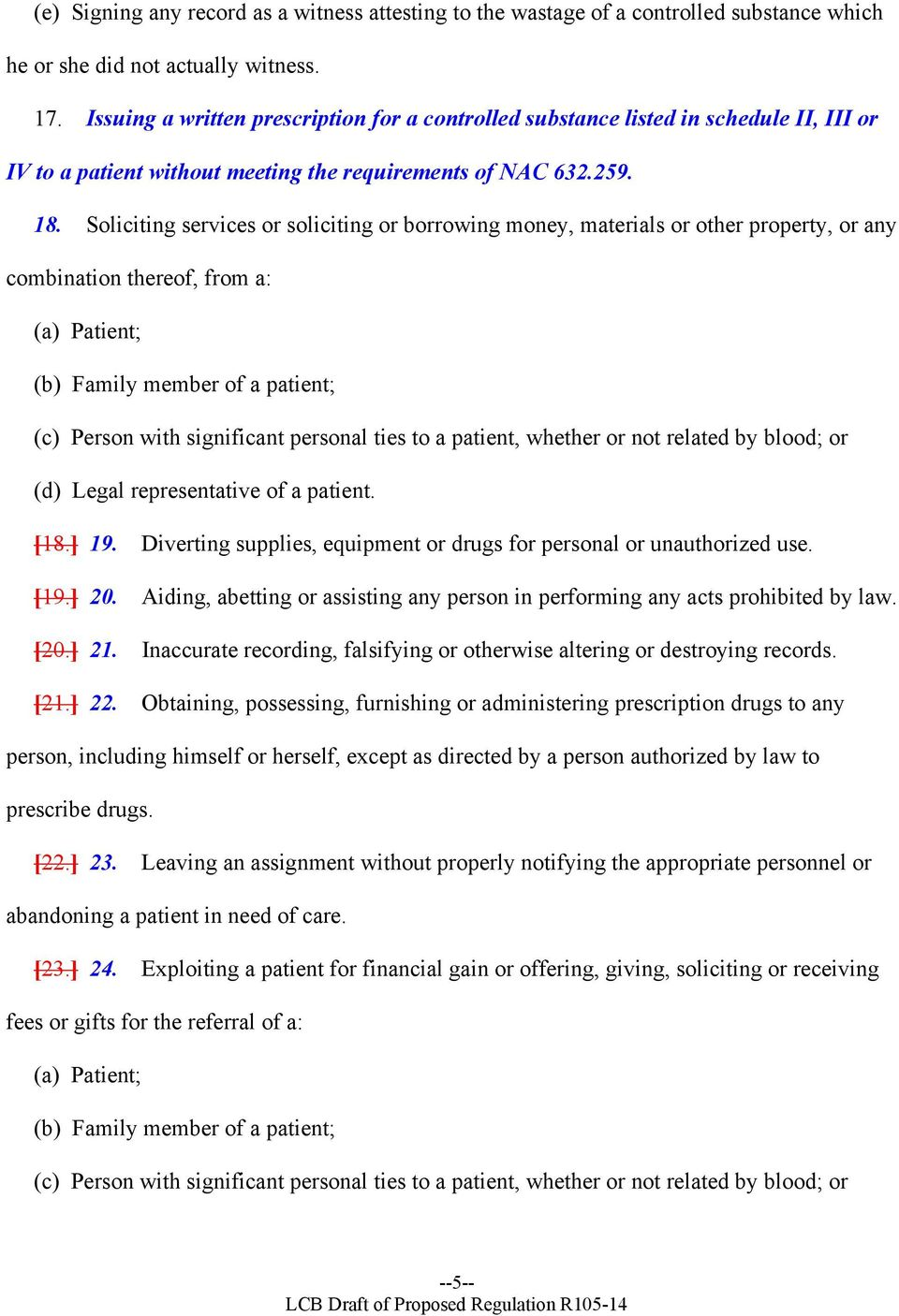 Soliciting services or soliciting or borrowing money, materials or other property, or any combination thereof, from a: (a) Patient; (b) Family member of a patient; (c) Person with significant