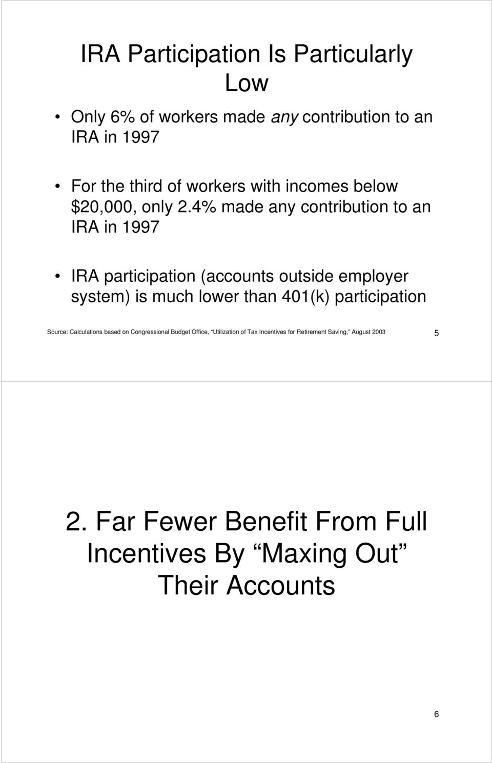 4% made any contribution to an IRA in 1997 IRA participation (accounts outside employer system) is much lower than 401(k)