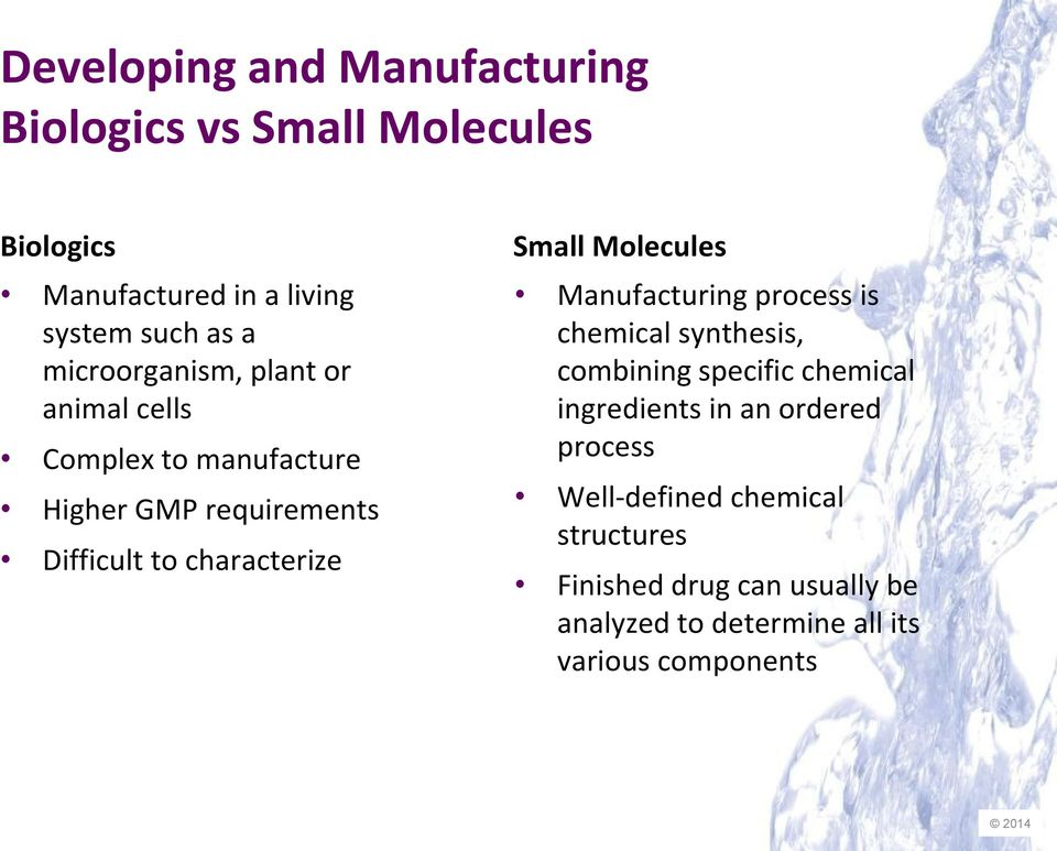 Small Molecules Manufacturing process is chemical synthesis, combining specific chemical ingredients in an