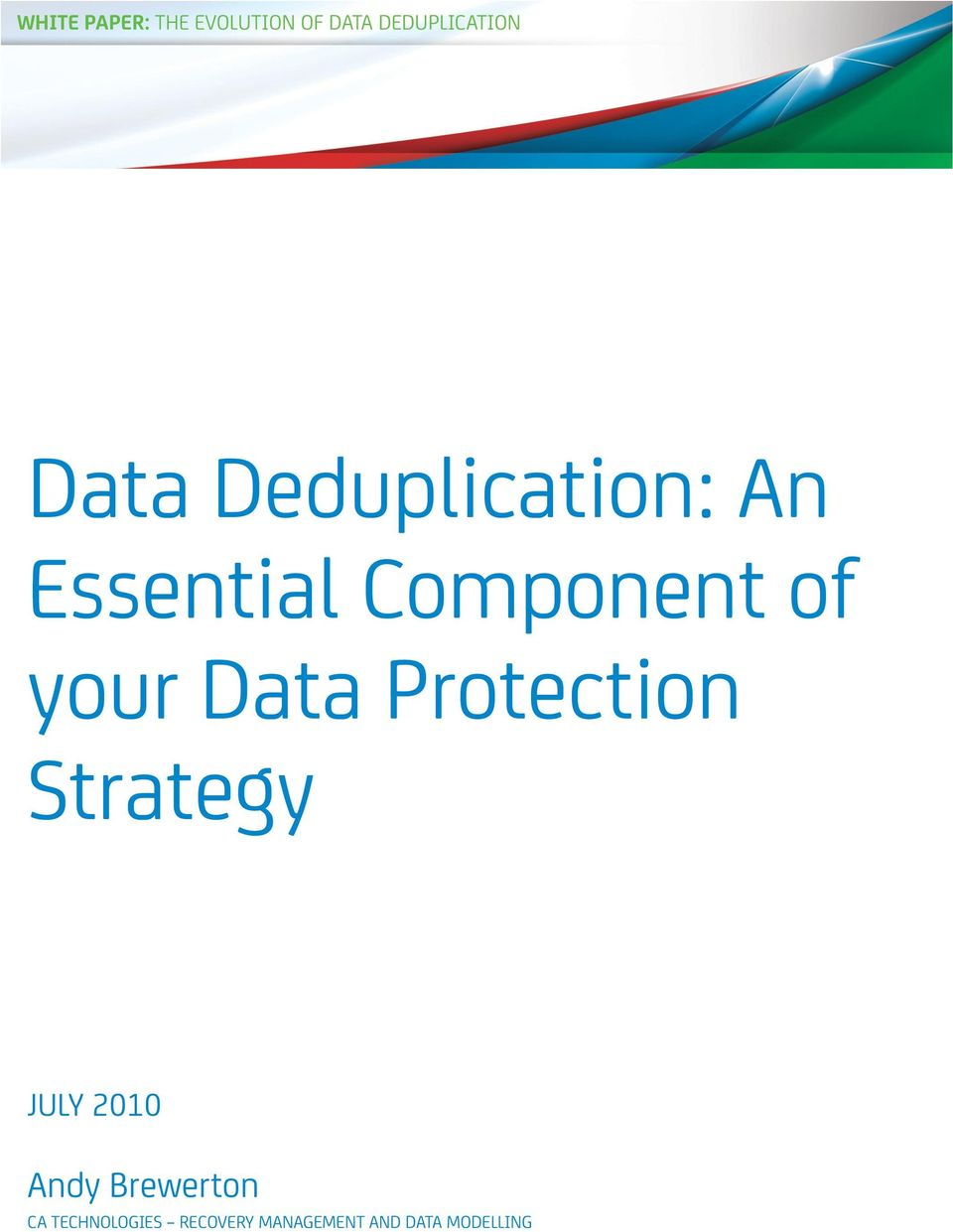 Data Protection Strategy JULY 2010 Andy Brewerton
