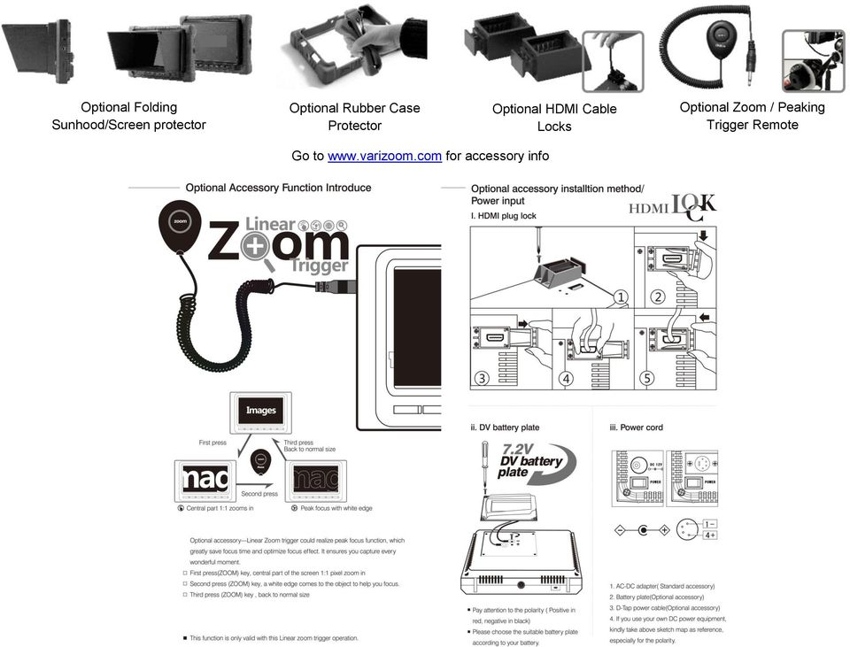 Cable Locks Optional Zoom / Peaking Trigger