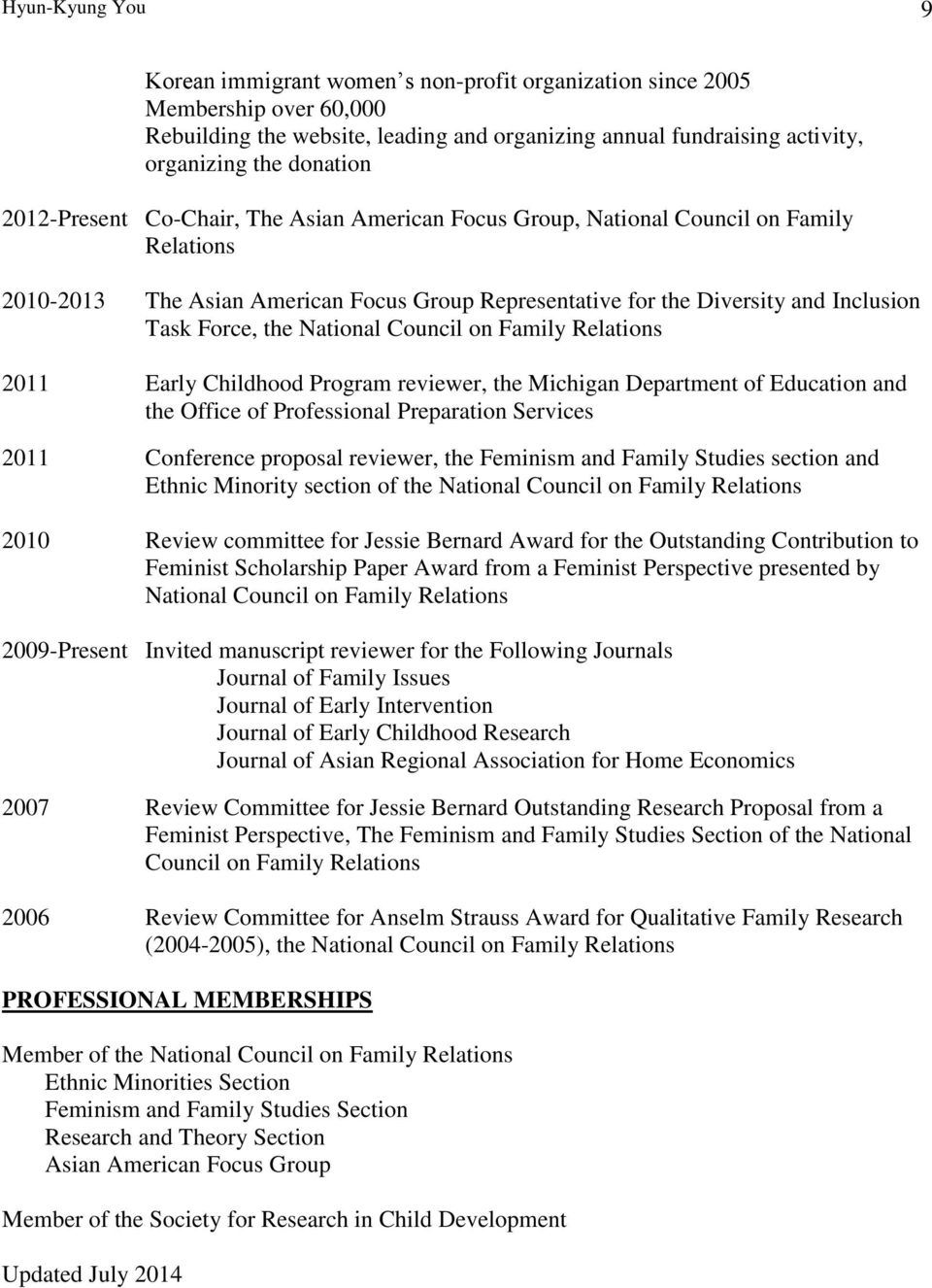 National Council on Family Relations 2011 Early Childhood Program reviewer, the Michigan Department of Education and the Office of Professional Preparation Services 2011 Conference proposal reviewer,