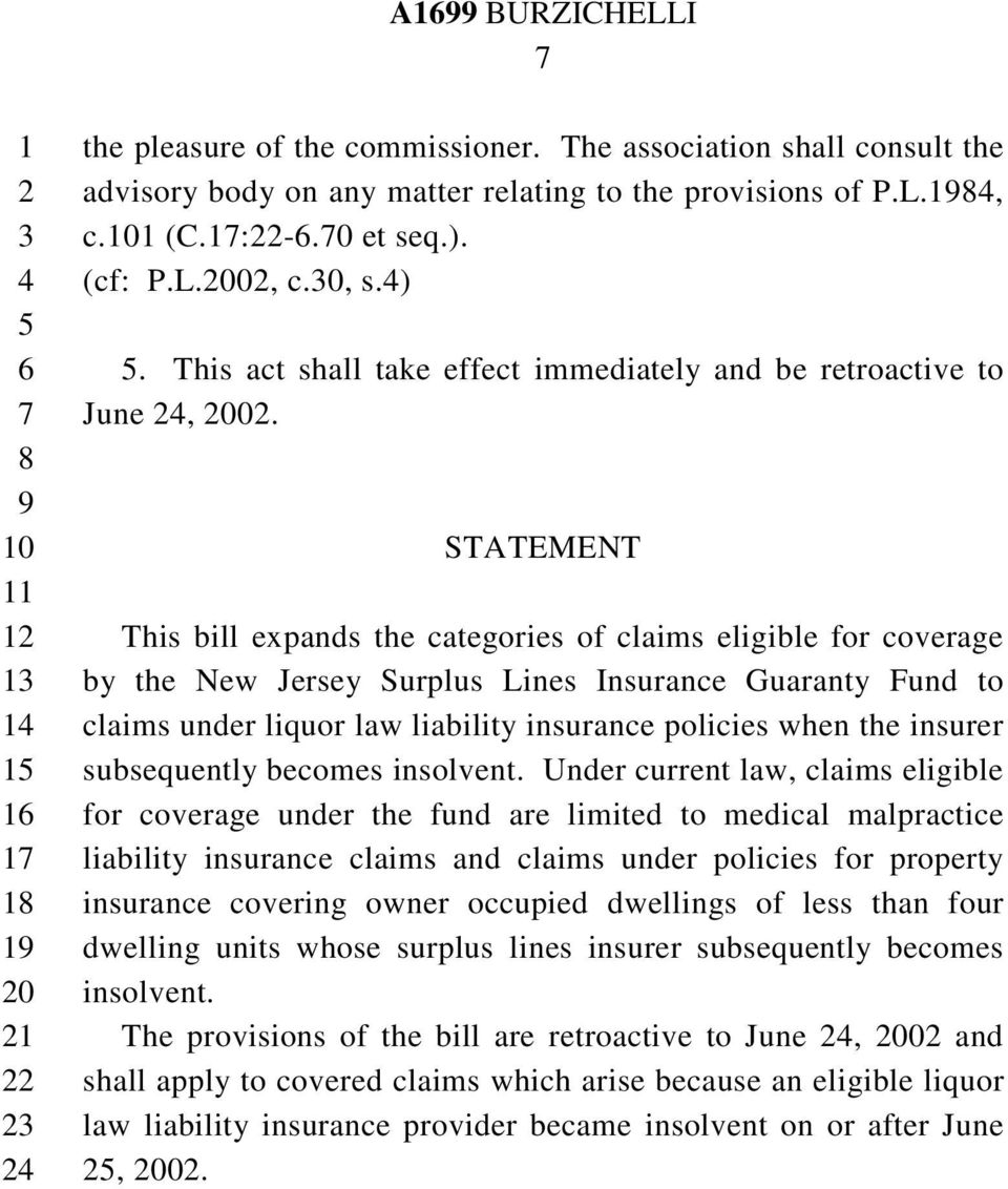 STATEMENT This bill expands the categories of claims eligible for coverage by the New Jersey Surplus Lines Insurance Guaranty Fund to claims under liquor law liability insurance policies when the