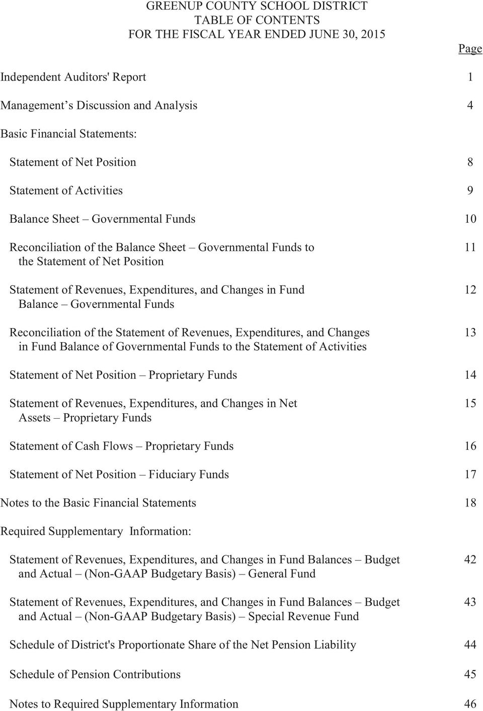 Reconciliation of the Statement of Revenues, Expenditures, and Changes 13 in Fund Balance of Governmental Funds to the Statement of Activities Statement of Net Position Proprietary Funds 14 Statement