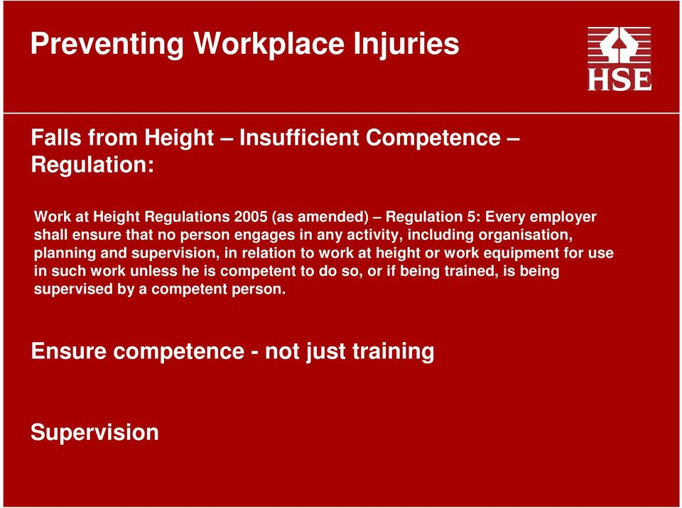 supervision, in relation to work at height or work equipment for use in such work unless he is competent to do
