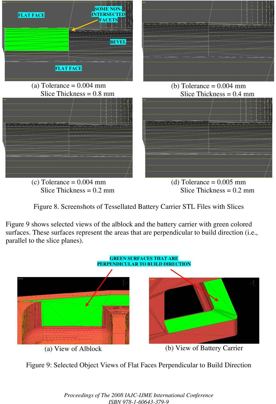 Screenshots of Tessellated Battery Carrier STL Files with Slices Figure 9 shows selected views of the alblock and the battery carrier with green colored surfaces.