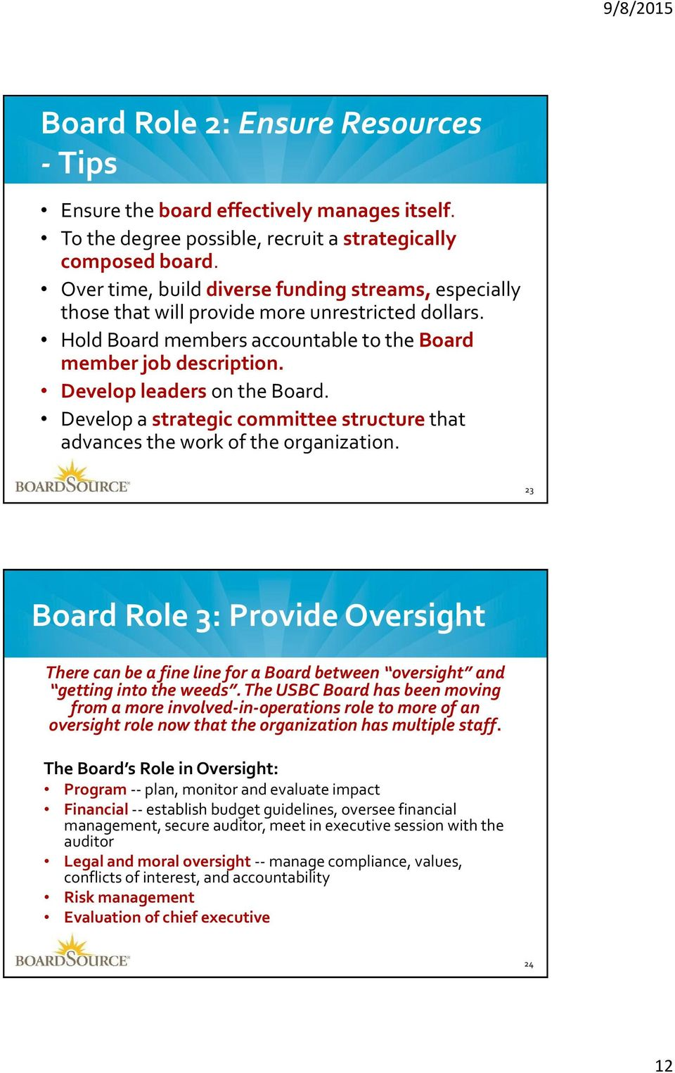 Develop leaders on the Board. Develop a strategic committee structure that advances the work of the organization.