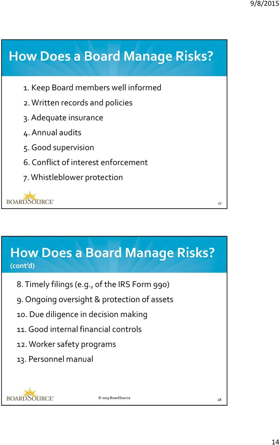 Whistleblower protection 27 How Does a Board Manage Risks? (cont d) 8. Timely filings (e.g., of the IRS Form 990) 9.