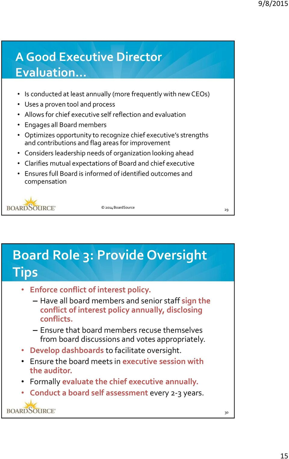 mutual expectations of Board and chief executive Ensures full Board is informed of identified outcomes and compensation 2014 BoardSource 29 Board Role 3: Provide Oversight Tips Enforce conflict of