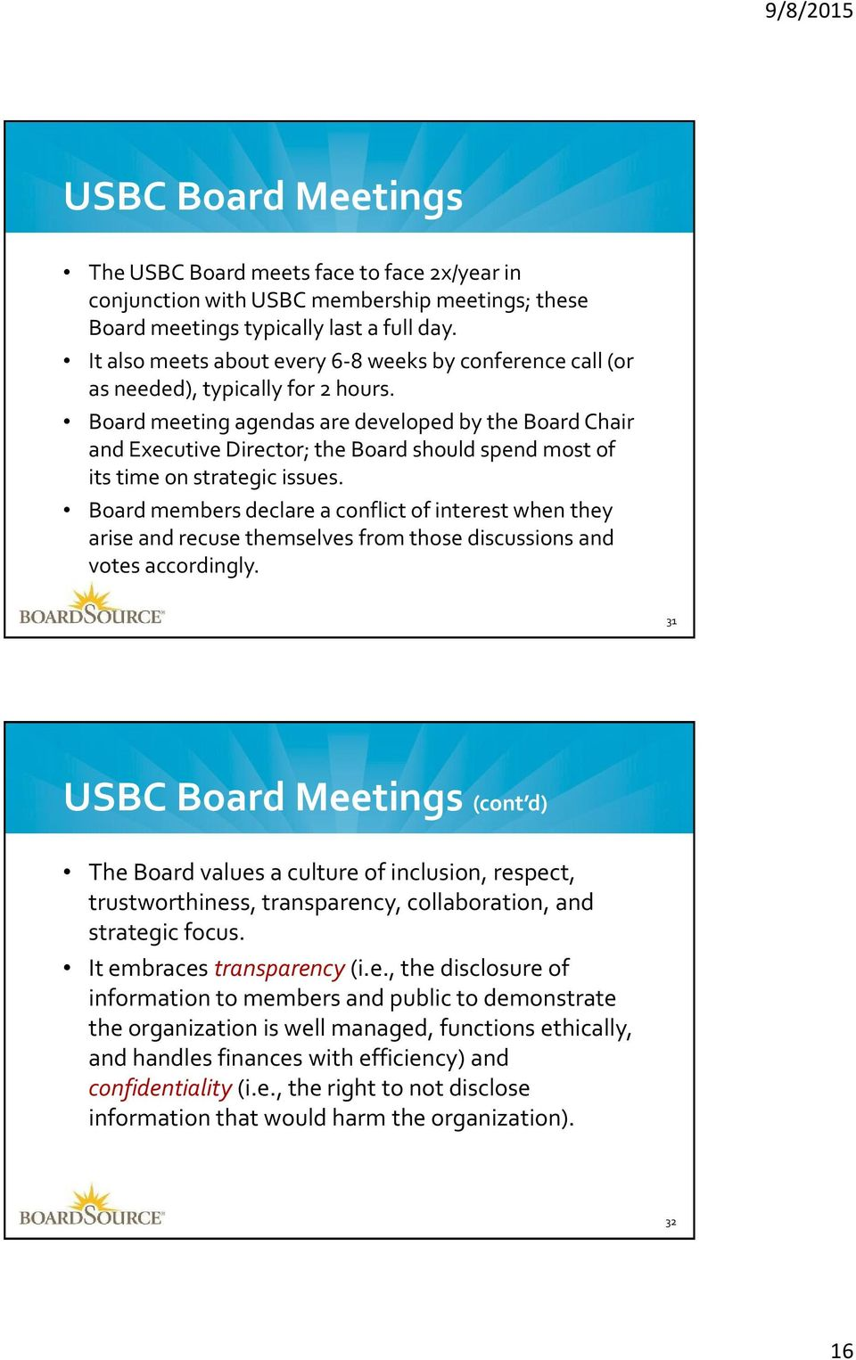 Board meeting agendas are developed by the Board Chair and Executive Director; the Board should spend most of its time on strategic issues.