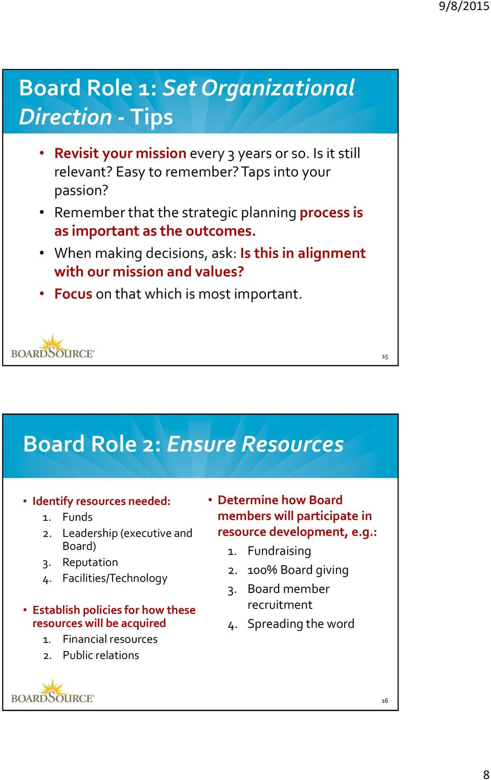 Focus on that which is most important. 15 Board Role 2: Ensure Resources Identify resources needed: 1. Funds 2. Leadership (executive and Board) 3. Reputation 4.