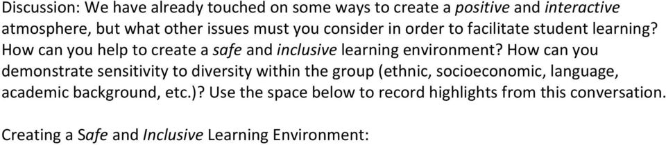 How can you help to create a safe and inclusive learning environment?