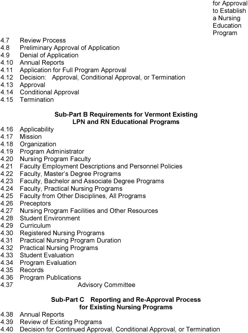 15 Termination for Approval to Establish a Nursing Education Program Sub-Part B Requirements for Vermont Existing LPN and RN Educational Programs 4.16 Applicability 4.17 Mission 4.18 Organization 4.
