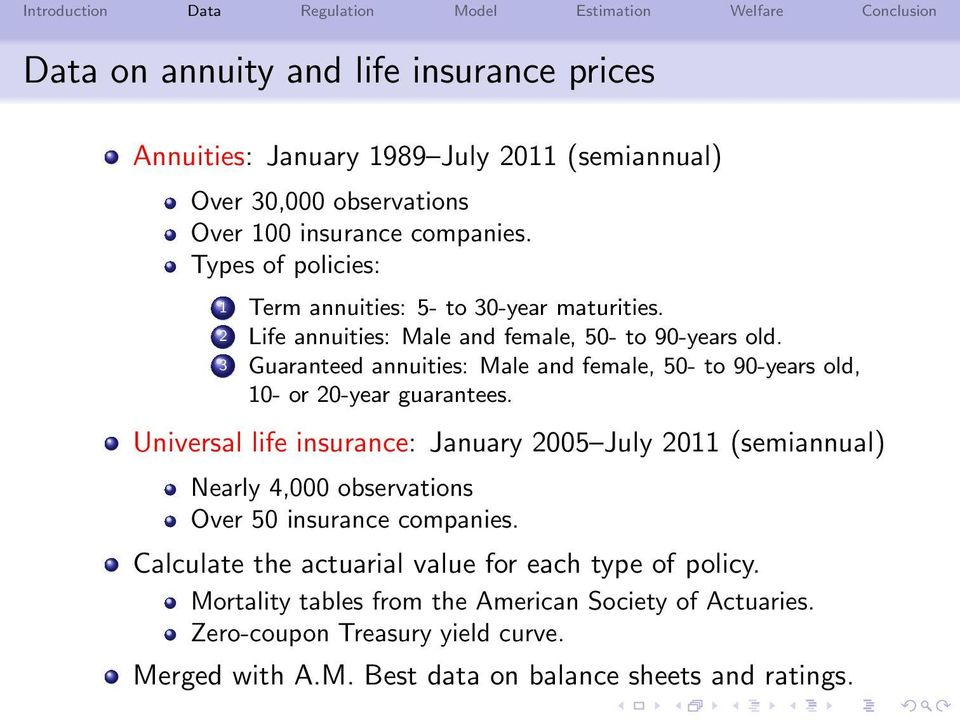 3 Guaranteed annuities: Male and female, 50- to 90-years old, 10- or 20-year guarantees.