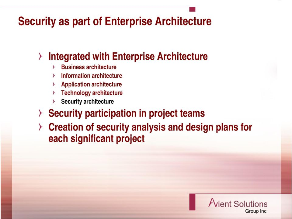 architecture Technology architecture Security architecture Security