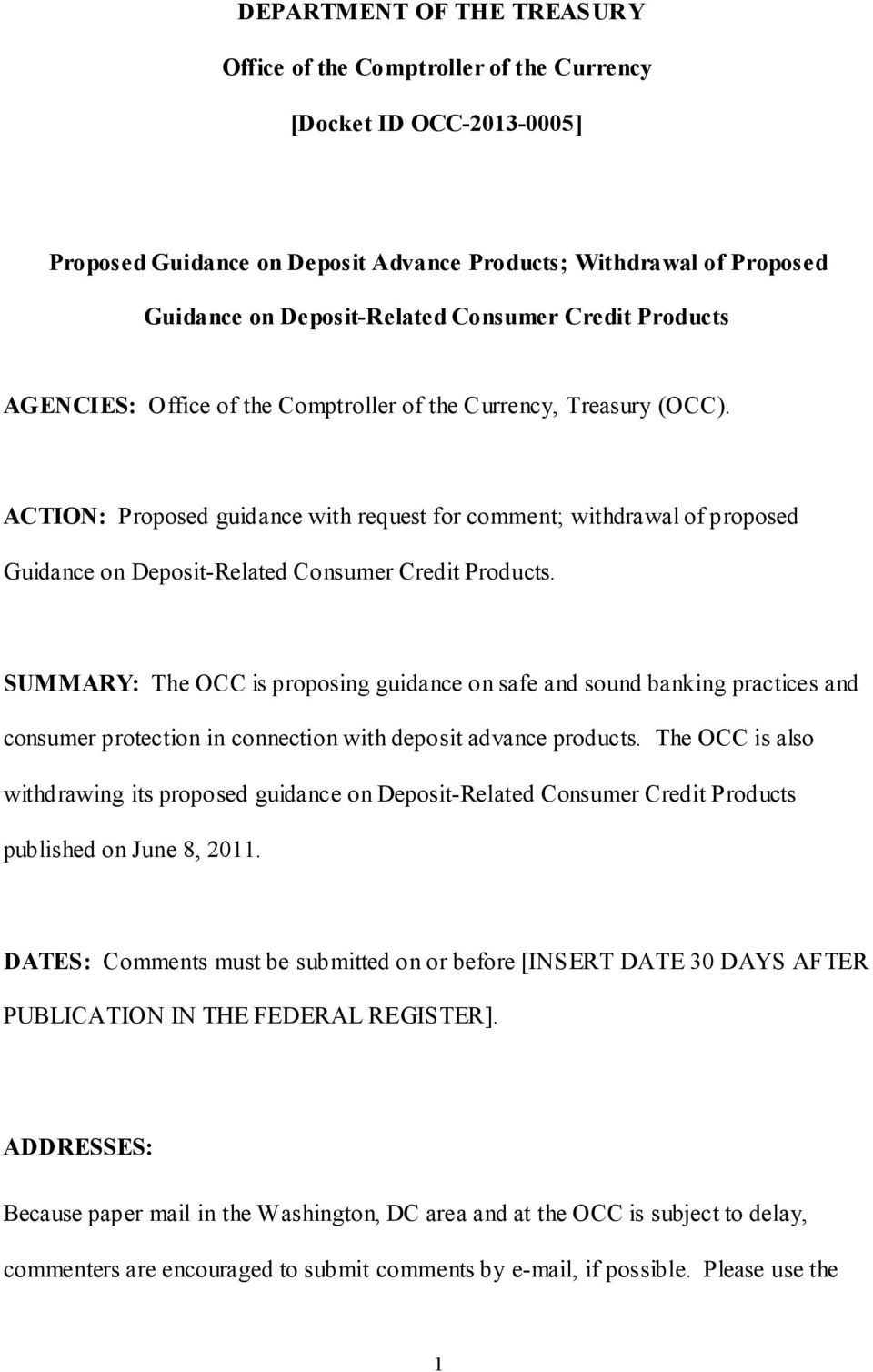 ACTION: Proposed guidance with request for comment; withdrawal of proposed Guidance on Deposit-Related Consumer Credit Products.