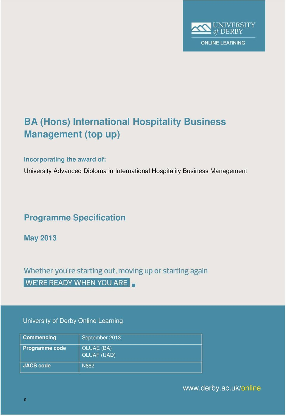 Management Programme Specification May 2013 University of Derby Online Learning