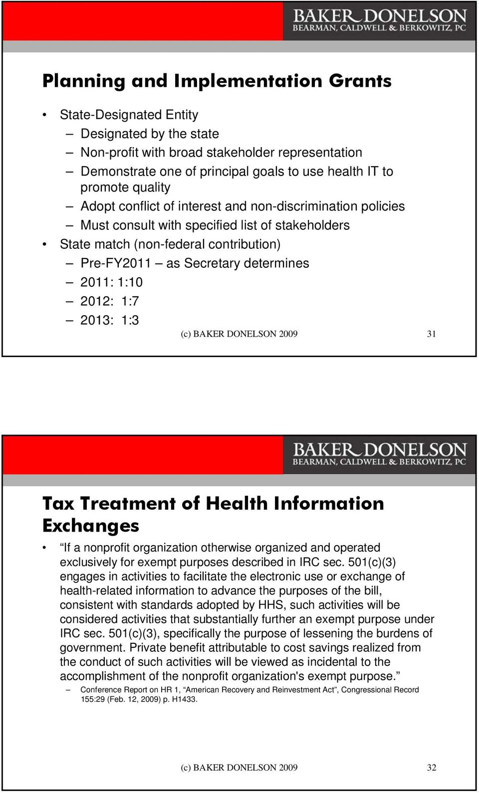1:10 2012: 1:7 2013: 1:3 (c) BAKER DONELSON 2009 31 Tax Treatment of Health Information Exchanges If a nonprofit organization otherwise organized and operated exclusively for exempt purposes