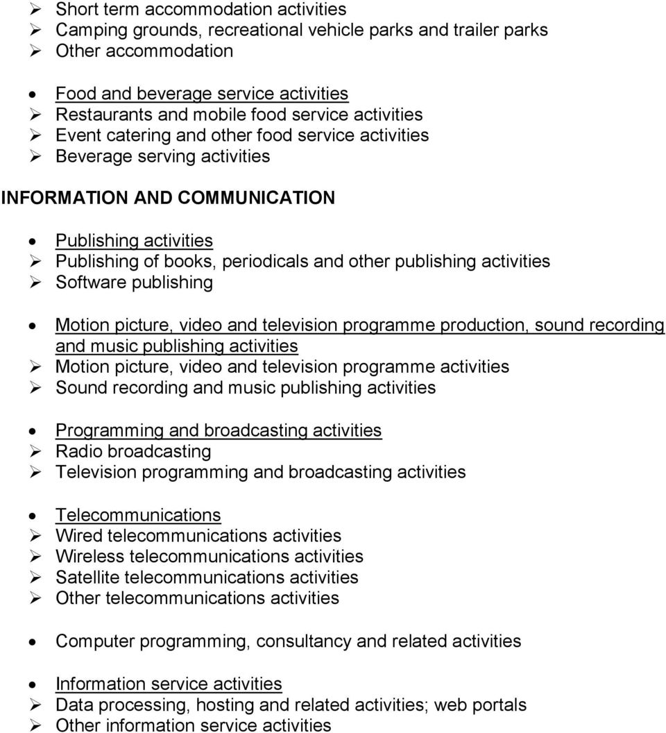 activities Software publishing Motion picture, video and television programme production, sound recording and music publishing activities Motion picture, video and television programme activities