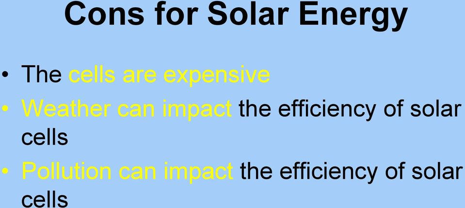 efficiency of solar cells Pollution