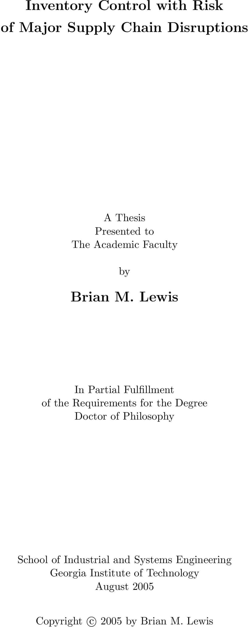Lewis In Partial Fulfillment of the Requirements for the Degree Doctor of