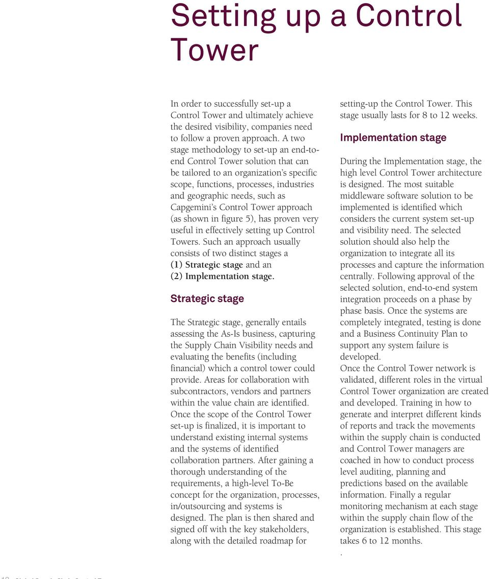 Capgemini s Control Tower approach (as shown in figure 5), has proven very useful in effectively setting up Control Towers.