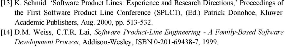 Software Product Line Conference (SPLC1), (Ed.