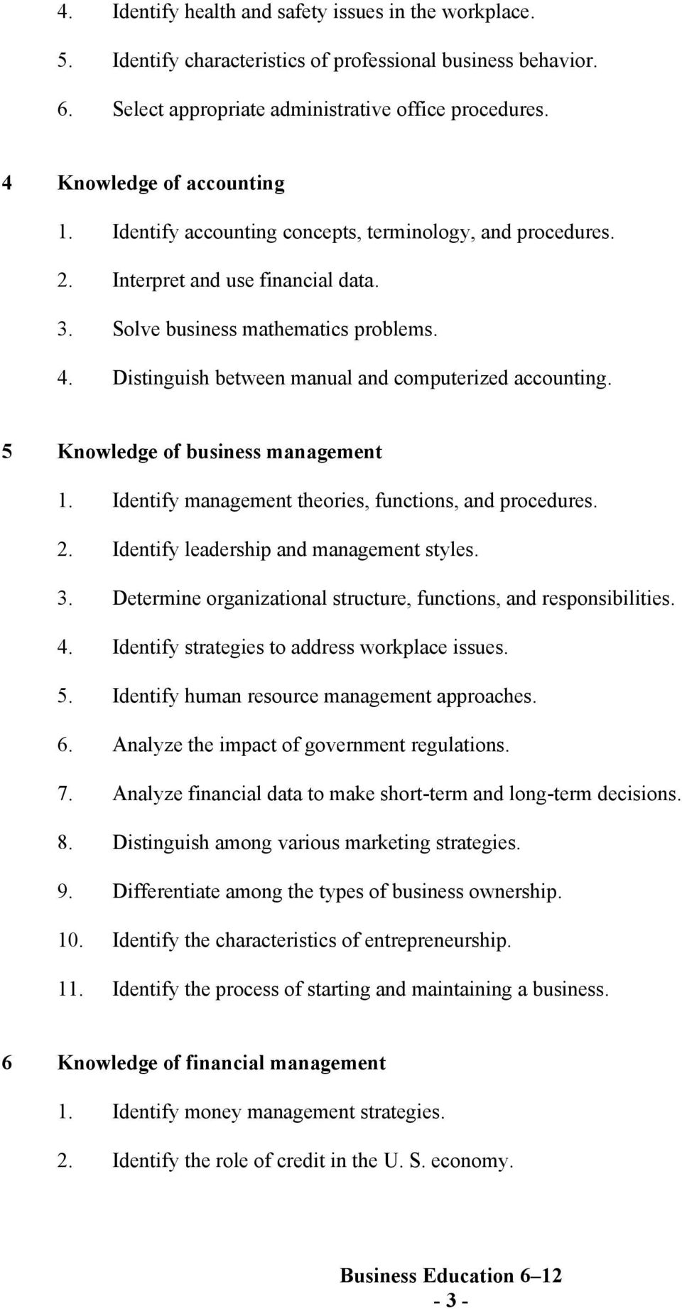 Distinguish between manual and computerized accounting. 5 Knowledge of business management 1. Identify management theories, functions, and procedures. 2. Identify leadership and management styles. 3.
