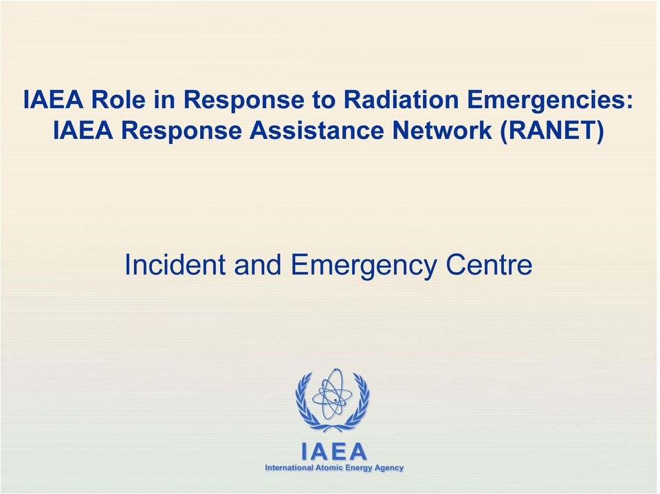 Network (RANET) Incident and Emergency