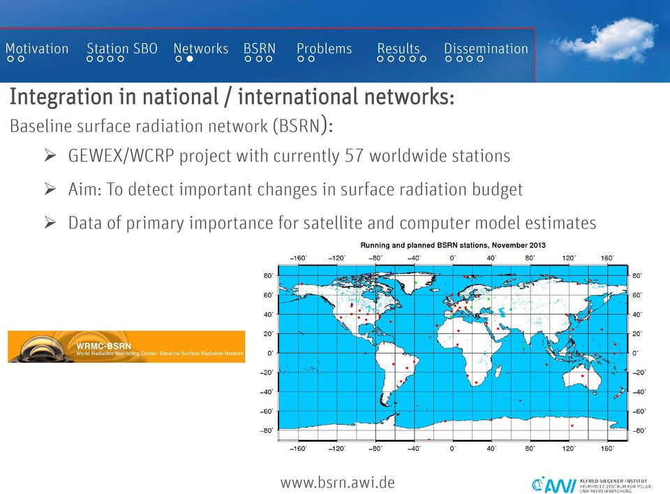 stations Aim: To detect important changes in surface radiation budget