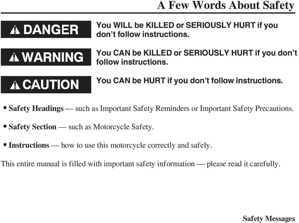 Safety Headings such as Important Safety Reminders or Important Safety Precautions. Safety Section such as Motorcycle Safety.
