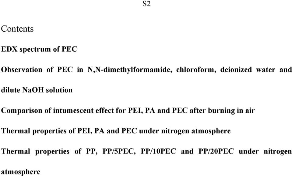 for PEI, PA and PEC after burning in air Thermal properties of PEI, PA and PEC under