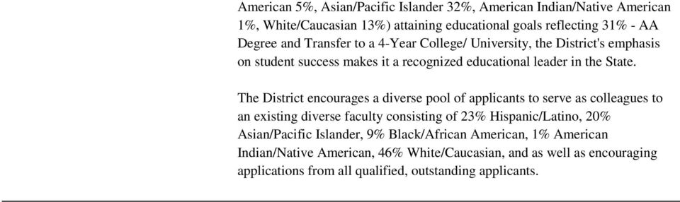 The District encourages a diverse pool of applicants to serve as colleagues to an existing diverse faculty consisting of 23% Hispanic/Latino, 20%