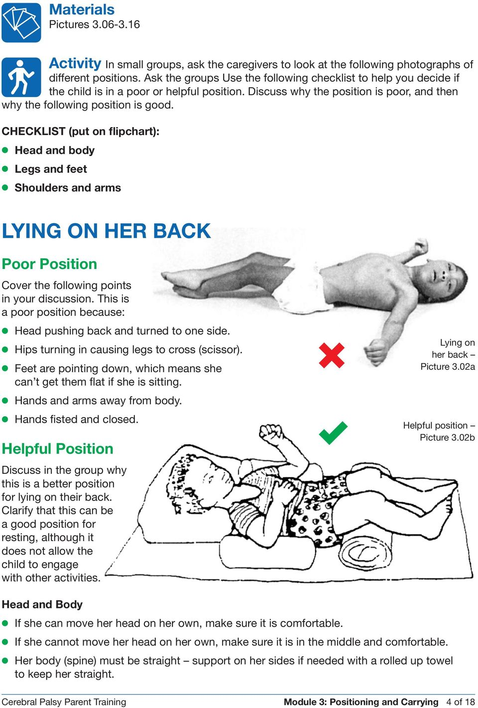 CHECKLIST (put on flipchart): Head and body Legs and feet Shoulders and arms LYING ON HER BACK Poor Position Cover the following points in your discussion.