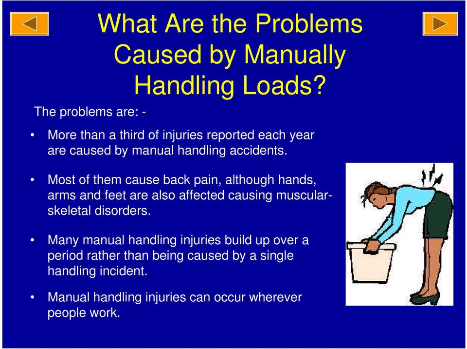 Most of them cause back pain, although hands, arms and feet are also affected causing muscularskeletal